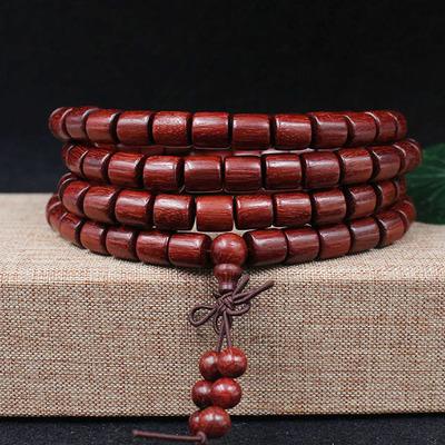 Chuỗi phật Zambia máu sandal thùng hạt vòng tay 108 lá nhỏ sản phẩm gỗ hồng mộc chuỗi hạt nhà máy bá