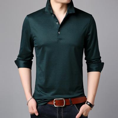 Áo thun mau khô 2019 xuân mới lụa áo thun dài tay nam ve áo mỏng phần áo sơ mi nam trung niên màu rắ