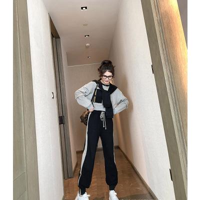 Đồ Suits Áo len nữ thể thao Hàn Quốc phù hợp với áo len nữ 2019 mùa thu mới quần thể thao giản dị nư