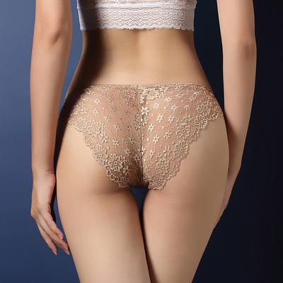 Leihui Quần lót Quần lót ren tan trong nước Sexy nữ siêu mỏng liền mạch rỗng eo thấp trong suốt Tóm