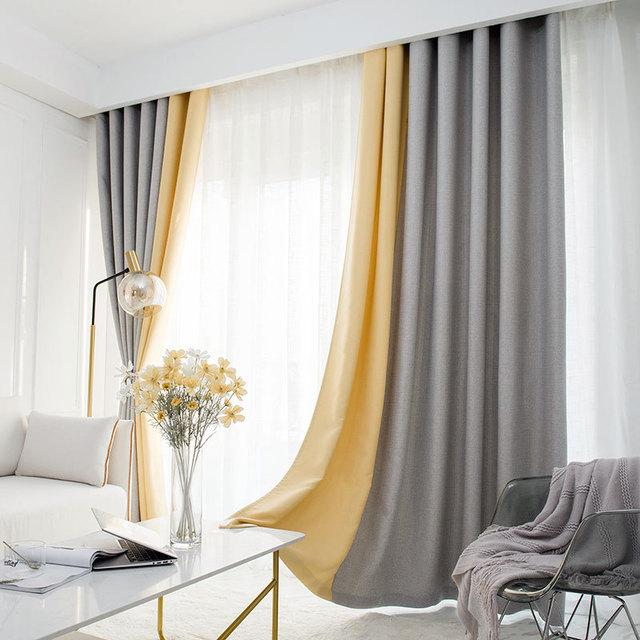 LUOCHUN Vải rèm cửa Màu trơn Athens lưới giả cotton và vải lanh màn cao vải rắn màu sáng nhẹ sang tr