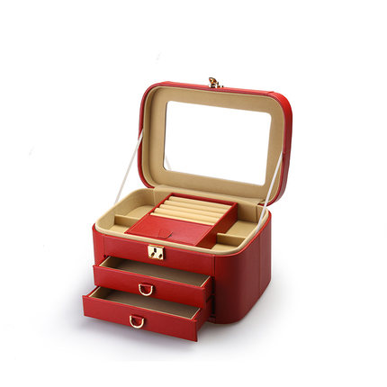 TAYOHYA Hộp trang sức Đa dạng nhà Litchi Hộp trang sức lớn Công chúa châu Âu đơn giản với khóa Công