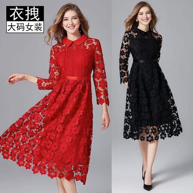 TAOYIZHUAI Đầm Túi tóc giúp cỡ lớn Váy đỏ châu Âu và Mỹ mùa xuân mới Váy cưới mới Chất béo dài mm rỗ