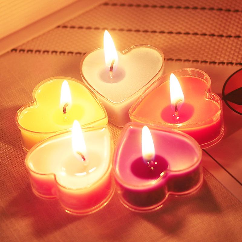 POFENG NLSX Nến Sáng tạo tình yêu hình trái tim biểu cảm lãng mạn không khói sinh nhật nến nhỏ cầu h