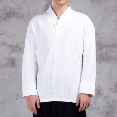 Áo thun mau khô Mùa thu áo thun nam dài tay thanh niên nam Trung Quốc cotton và vải lanh màu quần áo