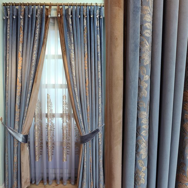 MSMS Vải rèm cửa Túi kẹp tóc nếp gạo nhà máy bán buôn nhung thêu rèm vải sợi Châu Âu Phòng ngủ Pháp