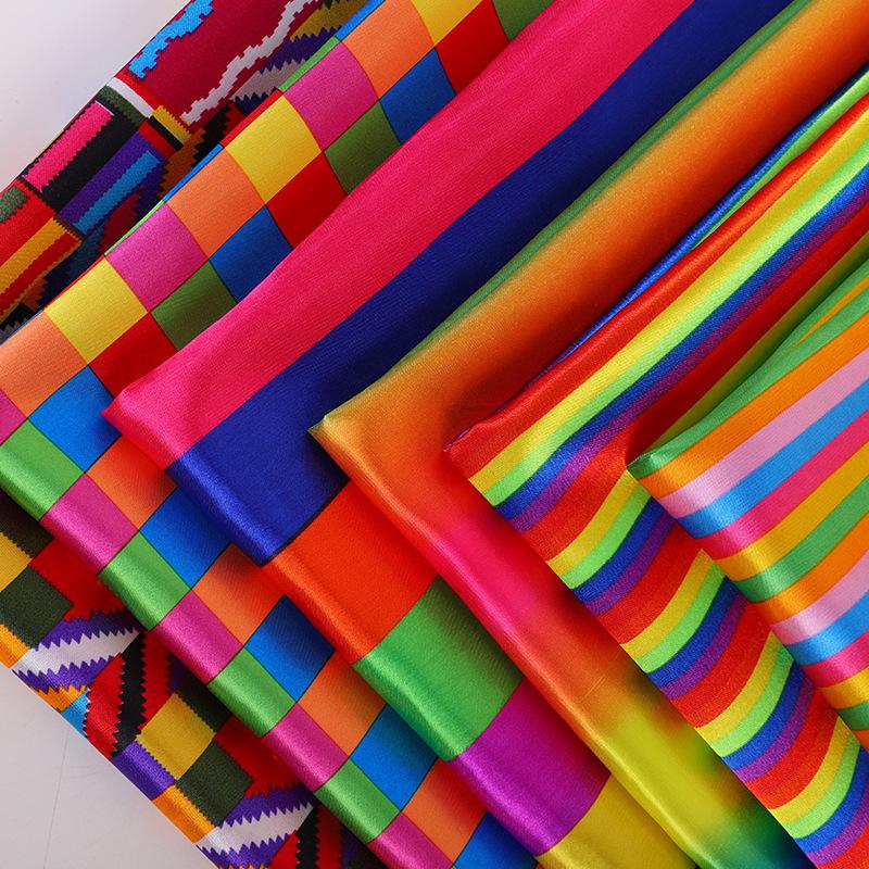 RUIHAN Vải Chiffon & Printing Dải màu mô phỏng vải in lụa ngoài áo sơ mi châu Âu và Mỹ mặc quần áo v