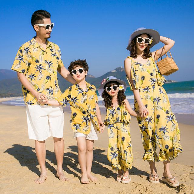 Smospe Áo thun gia đình Túi tóc giúp 2019 cha mẹ-con mặc áo sơ mi mới phù hợp với trang phục mùa hè