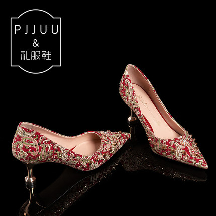 PJJUU Giày cô dâu Giày cưới cao gót màu đỏ nữ 2019 mới in rhinestone giày cưới cô dâu show cưới anh