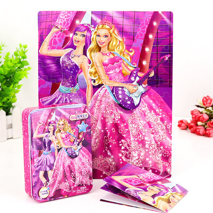 Toy Town  Đồ chơi hoạt hình Barbie Princess Children Jigsaw Jigsaw Girl 60/100 Piece 200 Flat Iron I