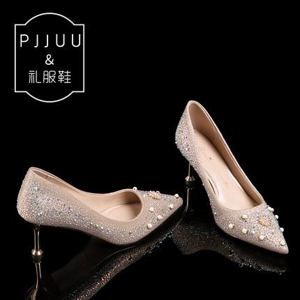 PJJUU Giày cô dâu Giày cưới nữ pha lê đầy đủ kim cương nóng bỏng cao gót nữ màu trắng mịn cưới cô dâ