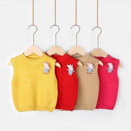AIMIANFANG Vải dệt kim  Áo len trẻ em chống đổ 2019 mới xuân hè thu cho trẻ em vest vest áo len áo l