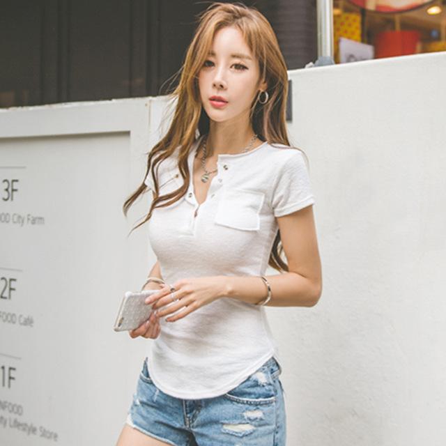 hàng chất lượng cao Áo thun nữ tay ngắn 2019 phiên bản Hàn Quốc gợi cảm Slim nữ rắn màu nửa hở cổ áo