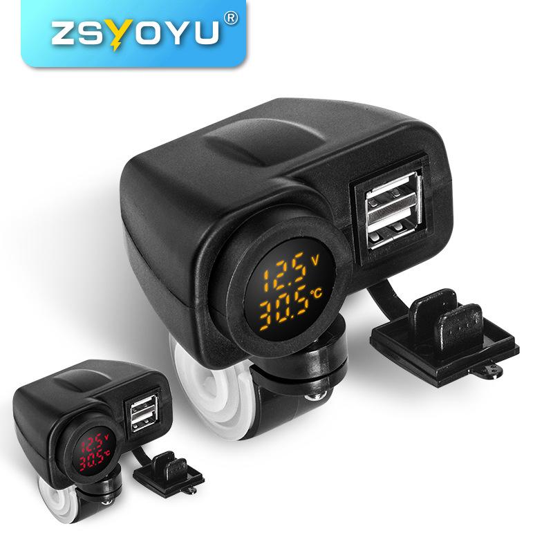 Phụ kiện xe máy đôi USB với màn hình kỹ thuật số đo nhiệt độ không thấm nước sạc nhanh 12V24v