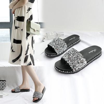 Thị trường giày nữ Dép nữ mới mùa hè của phụ nữ thời trang Phiên bản Hàn Quốc của sandal đính sequin