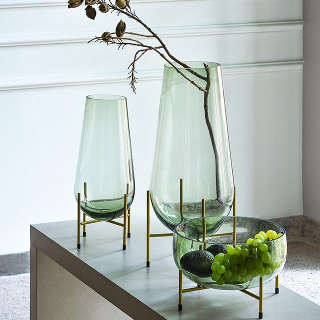 BIXUAN Bình thủy tinh Bixuan kệ hoa phong cách châu Âu trang trí nội thất khách sạn tấm trái cây thủ