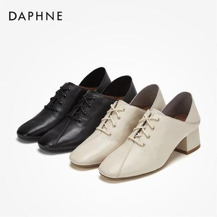 Daphne  Giày da một lớp   Daphne 2019 mùa thu rắn màu da lộn văn học đơn giày retro giày cao gót tha