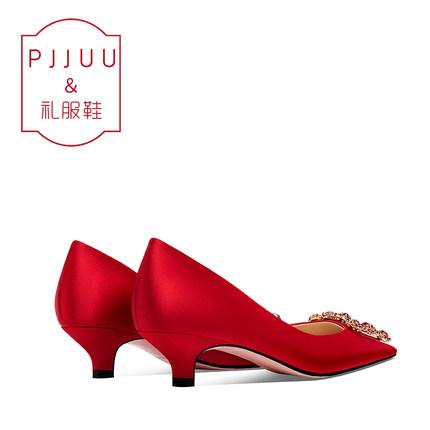 PJJUU Giày cô dâu Giày cưới màu đỏ nữ thấp gót 3cm Giày cưới cao gót nhỏ 2019 cho bà bầu mới ngắn vớ