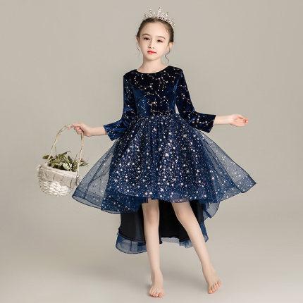 Zhitongdai Trang phục dạ hôi trẻ em Cô gái sinh nhật váy dài tay công chúa ponchos trẻ em trình diễn