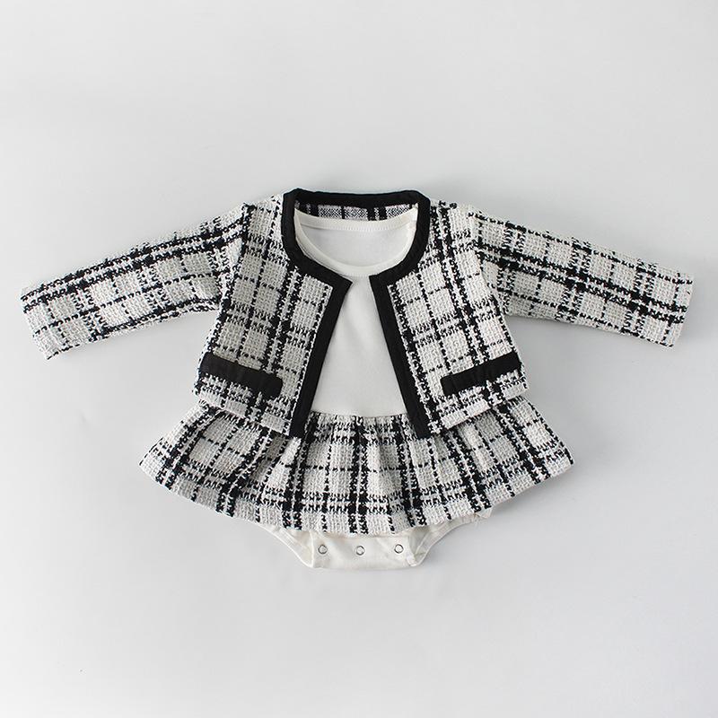 Engepapa Đồ Suits Bộ đồ xuân 2019 0-2 tuổi nữ bé Xiaoxiang công chúa khí chất nữ áo dài tay váy hai