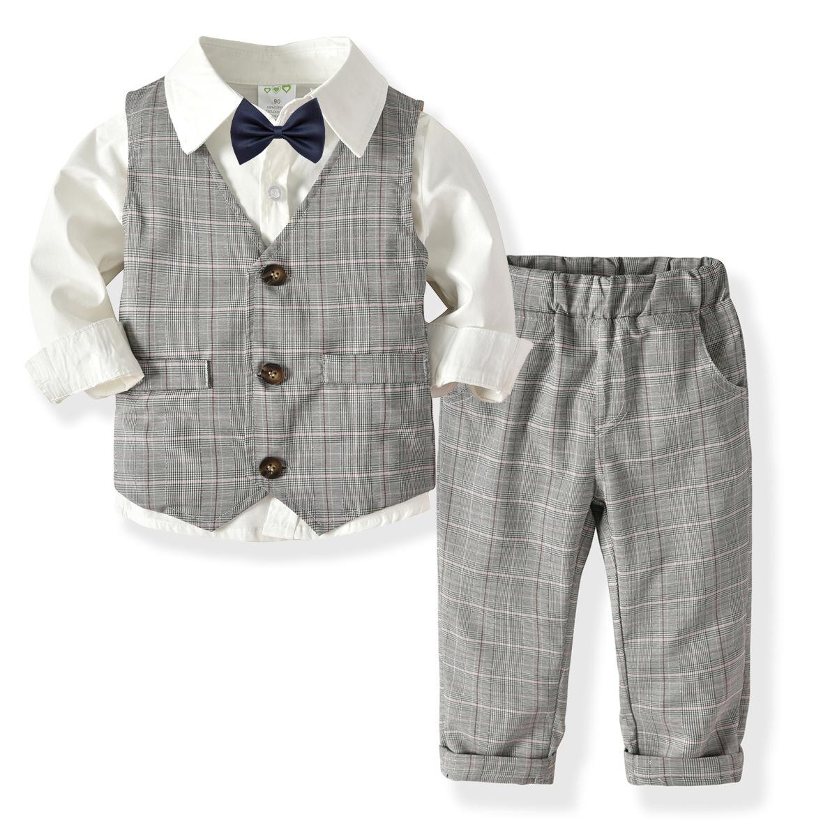 HI&JUBER Đồ Suits Bé trai áo dài tay áo đôi quần tây quý ông thắt nơ phù hợp với trẻ em bé sinh nhật