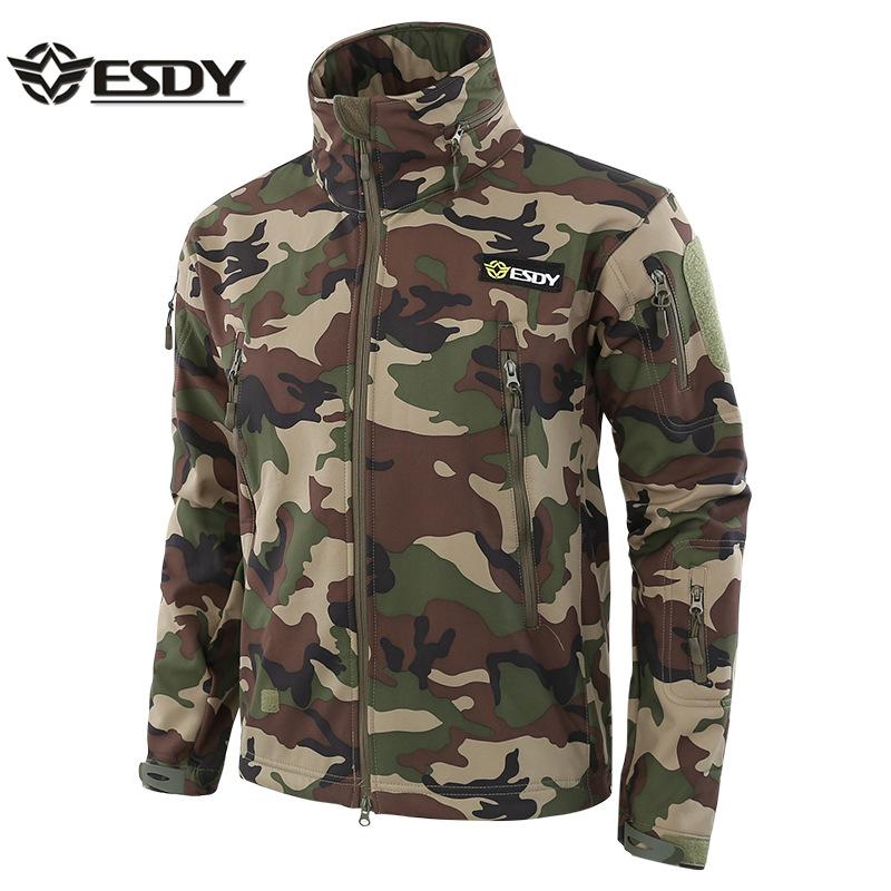ESDY Áo nguỵ trang lính Áo khoác ngụy trang ngoài trời cộng với quần áo ngụy trang nhung mềm quần áo