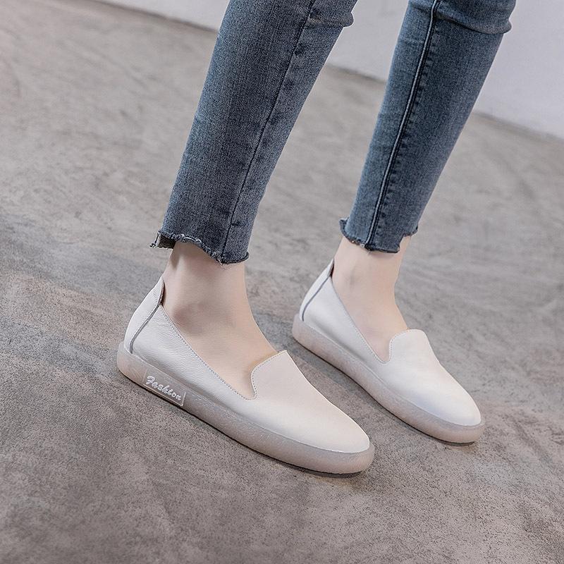 JUZI Giày Loafer / giày lười Túi đựng tóc giúp Mori nữ bằng da đế mềm đế mềm, giày chống trượt Giày
