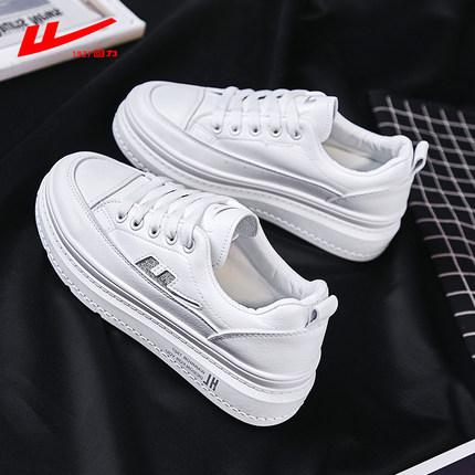 Warrior  Giày bánh mì  Kéo lại đôi giày trắng nhỏ nữ 2019 mới tăng hoang dã trong đôi giày thể thao