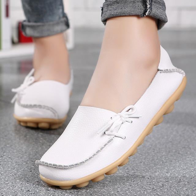 Giày da một lớp Giày xuyên biên giới mùa xuân và mùa hè Giày nữ cỡ lớn Giày da mẹ y tá với giày đế b