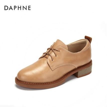 Daphne  Giày da một lớp   Giày đơn Daphne nữ 2019 mùa thu mới Anh gió nhỏ giày dày có đầu tròn retro