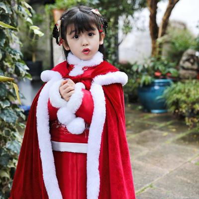 HUI YU ZU QIN Áo choàng trẻ em  Cô gái Hanfu Giáng sinh Trẻ em Khăn choàng đỏ Áo choàng Một thế hệ T