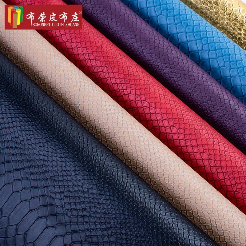 BURONGPI Vật liệu da Nhà máy trực tiếp da rắn vải PVC dập nổi da nhân tạo retro chất liệu hành lý gi