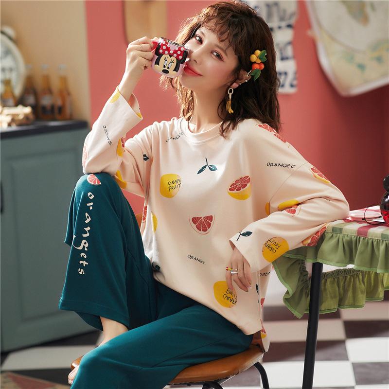 Bộ đồ ngủ cotton Hàn Quốc mới mùa thu và mùa đông cotton dài tay giản dị có thể mặc đồ gia dụng bán
