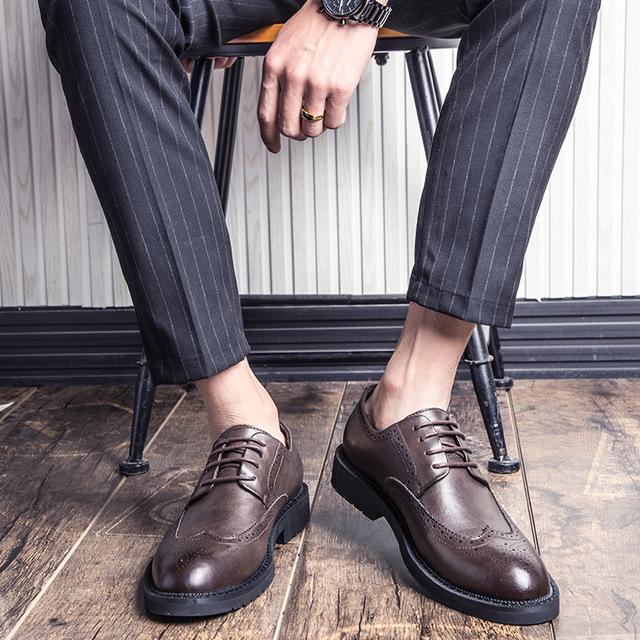 LIAOCHI thị trường giày nam Giày nam Bullock 2019 mùa thu mới thoáng khí giày công sở nam giày cỡ lớ