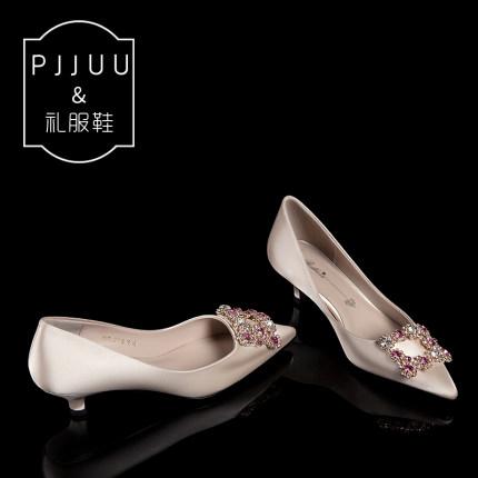 PJJUU Giày cô dâu Giày cưới Giày nữ gót thấp 3 cm nhỏ với giày cô dâu 2019 Phụ nữ mới mang thai thườ