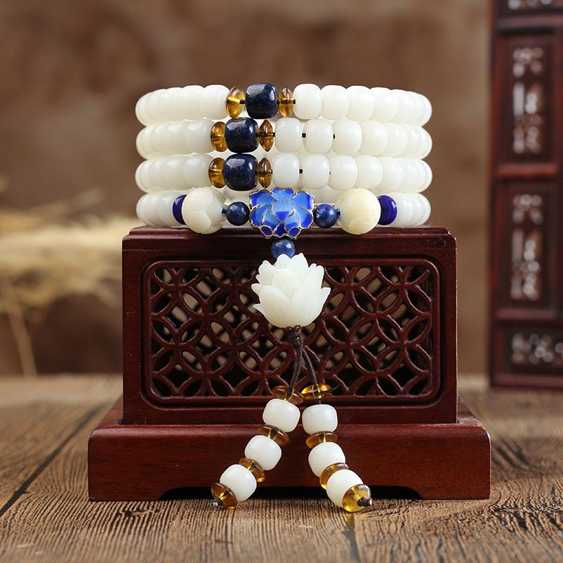 FENLU Chuỗi phật Túi Bang Bang White Jade Bodhi Rễ 108 Hạt ban đầu Vòng tay Ngọc trắng Vòng tay Bodh