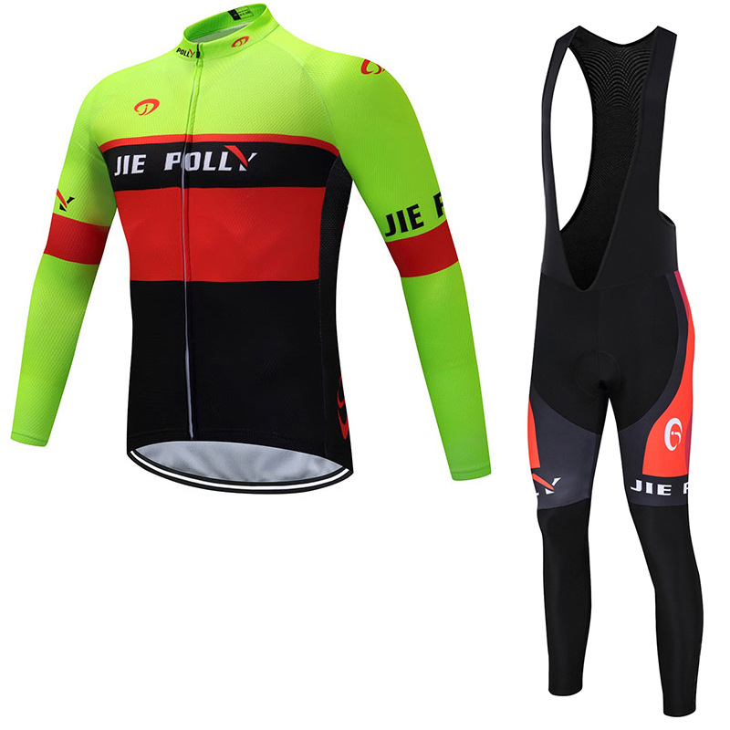 JIEPOLLY Quần áo mau khô Phiên bản đội xuyên biên giới của bộ đồ đi xe đạp Bộ xe đạp yếm dài tay Quầ