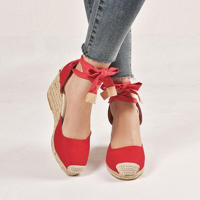 Giày cao gót đế bằng cho nữ kiểu thắt dây