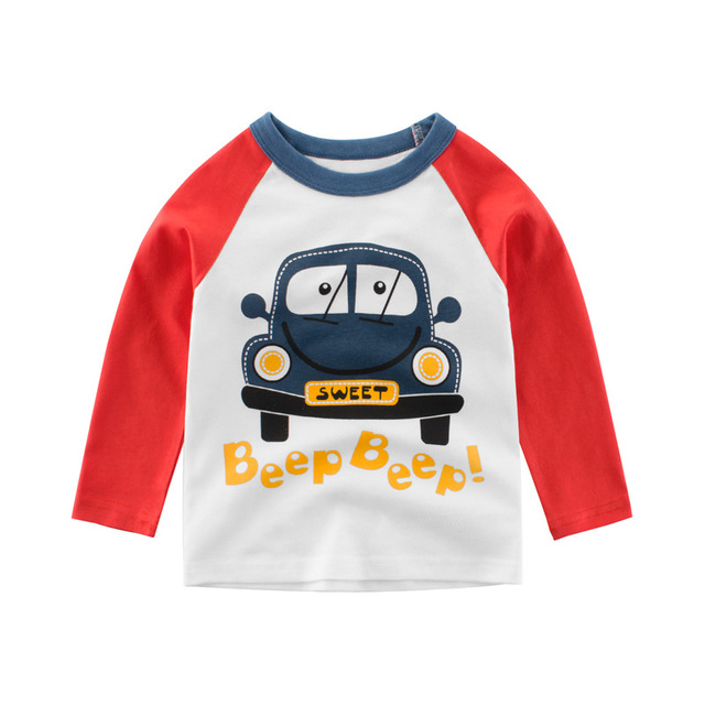 27KIDS Phong cách Hàn Quốc Quần áo trẻ em Hàn Quốc mùa thu mới cho bé trai Áo thun dài tay ô tô hoạt