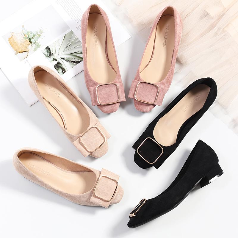 FUHAO Giày GuangDong Fu số 2019 mùa xuân mới giày thấp gót nữ vuông đầu nông miệng đơn giày nữ khóa
