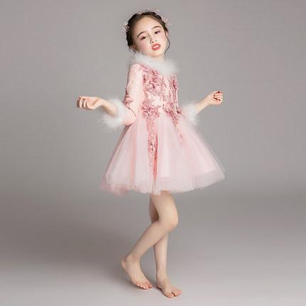 Zhitongdai Trang phục dạ hôi trẻ em Váy bé gái Kiểu váy công chúa phương Tây hoa cô gái cộng với sợi