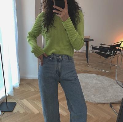 Phong cách Hàn Quốc 2019 đầu thu mới Hàn Quốc cao eo ngắn áo len dệt kim rốn dài tay áo hoang dã chạ