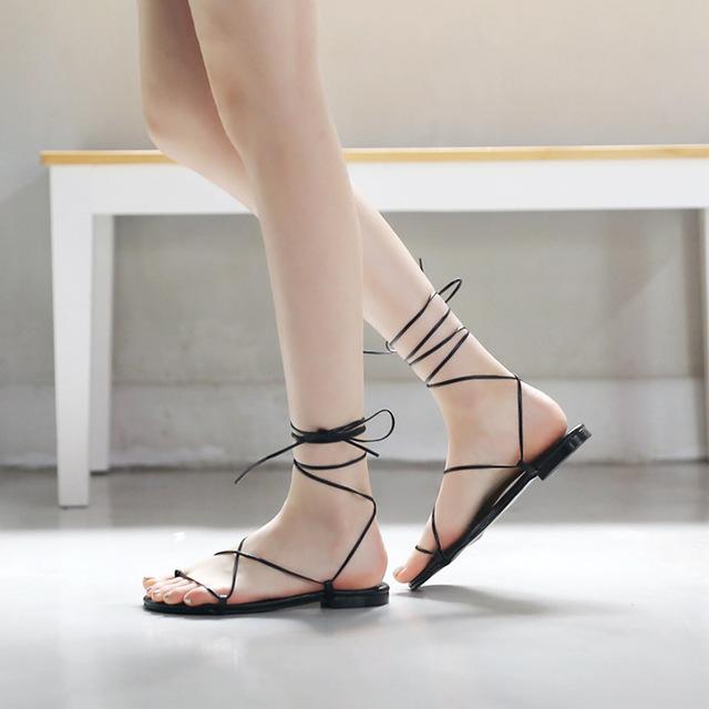 Dép cho nữ kiểu thắt dây La Mã Thời trang cổ điển