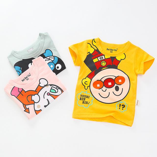 BEIBEIGU Phong cách Hàn Quốc Túi tóc giúp trẻ em Hàn Quốc quần áo mới 2019 hè trẻ em ngắn tay áo thu