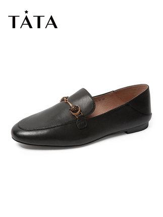 tata Giày Loafer / giày lười Tata / he quầy thu đông 2019 của cô với đôi giày da cừu đế tròn, giày đ