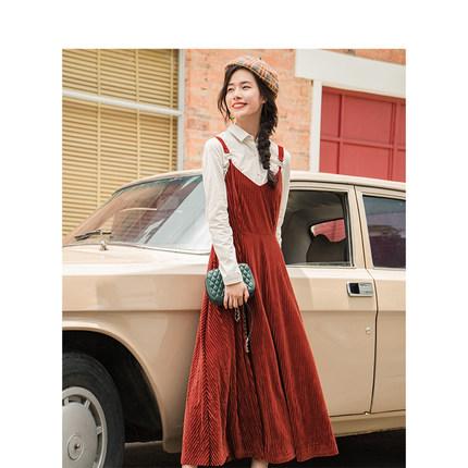 Yinman Đầm [Giải phóng mặt bằng] Inman Pháp rắn màu thắt lưng sọc v-cổ nhung nhung dây đeo nữ dài đo