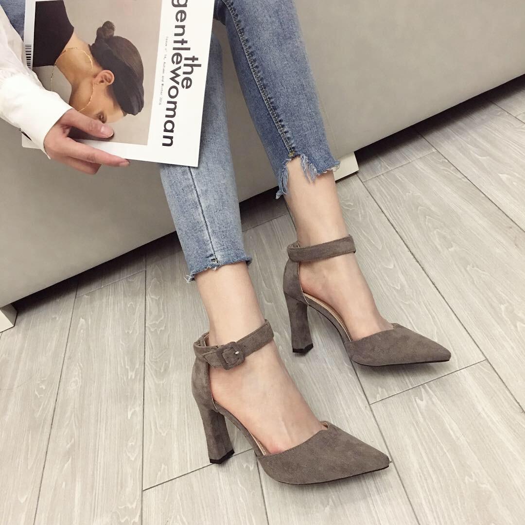 AINER-CAT Giày GuangDong 2982 Giày thời trang Hàn Quốc giày cao gót da lộn nông miệng nhọn gợi cảm m