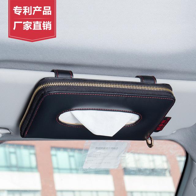 Hộp đừng khăn giấy treo trên kính che nắng xe ô tô HAOCHEFENG ( có dây đeo tiện lợi)