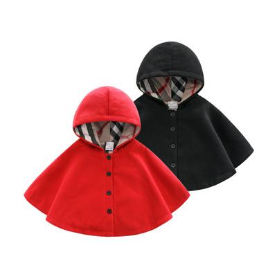 Áo choàng trẻ em  Áo choàng trẻ em áo choàng trùm đầu cotton trẻ em hoang dã Áo choàng nữ màu đỏ đen