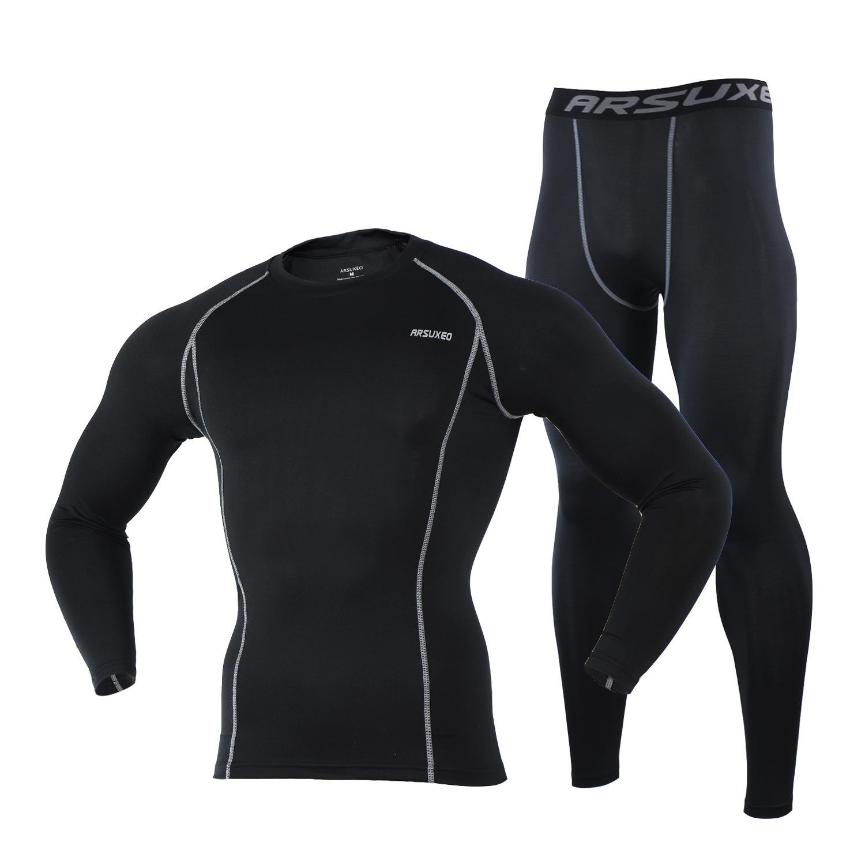 ARSUXEO Quần áo mau khô PRO thể thao chạy đào tạo nhanh khô phù hợp với quần thể thao đàn hồi quần c